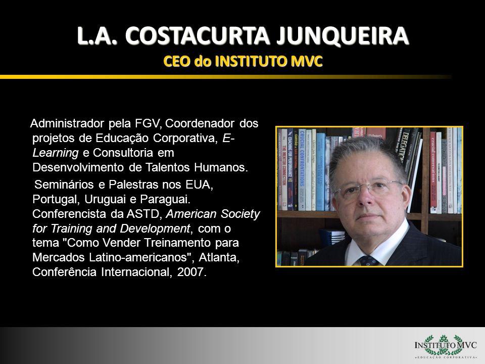L.A. COSTACURTA JUNQUEIRA CEO do INSTITUTO MVC Administrador pela FGV, Coordenador dos projetos de Educação Corporativa, E- Learning e Consultoria em