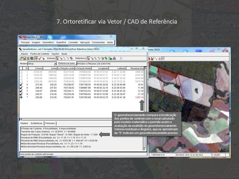 O georreferenciamento compara a localização dos pontos de controle com o local calculado pelo modelo matemático e permite assim a avaliação da exatidão do georreferenciamento.