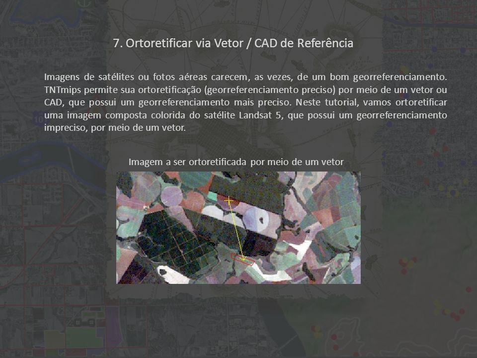 7. Ortoretificar via Vetor / CAD de Referência Imagens de satélites ou fotos aéreas carecem, as vezes, de um bom georreferenciamento. TNTmips permite