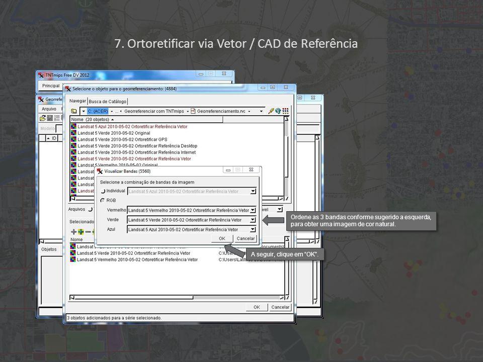 TNTmips reconhece automaticamente as especificações do georreferenciamento existente da imagem a ser ortoretificada.