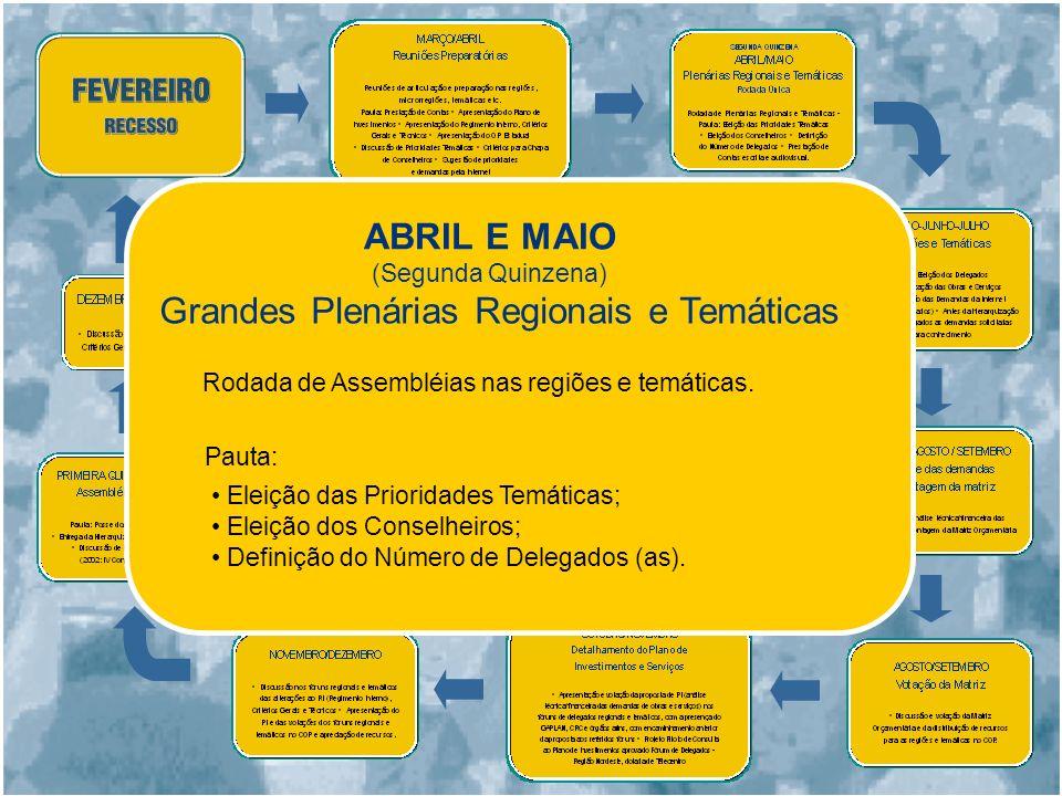 ABRIL E MAIO Grandes Plenárias Regionais e Temáticas Rodada de Assembléias nas regiões e temáticas.