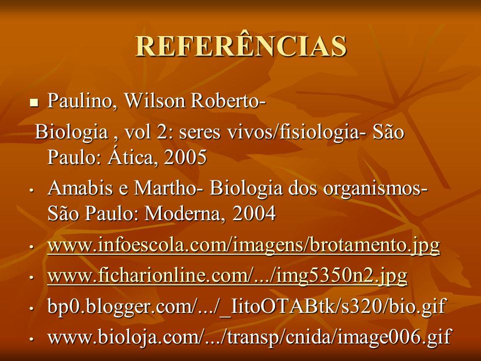 REFERÊNCIAS Paulino, Wilson Roberto- Paulino, Wilson Roberto- Biologia, vol 2: seres vivos/fisiologia- São Paulo: Ática, 2005 Biologia, vol 2: seres v