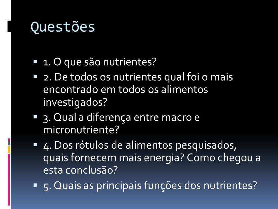 Questões 1. O que são nutrientes? 2. De todos os nutrientes qual foi o mais encontrado em todos os alimentos investigados? 3. Qual a diferença entre m