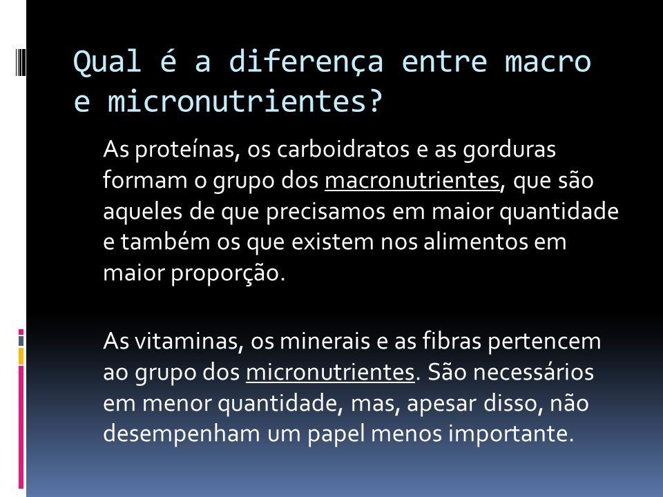 Qual é a diferença entre macro e micronutrientes? As proteínas, os carboidratos e as gorduras formam o grupo dos macronutrientes, que são aqueles de q