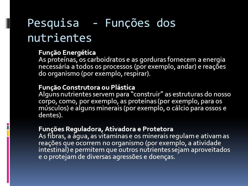 Pesquisa - Funções dos nutrientes Função Energética As proteínas, os carboidratos e as gorduras fornecem a energia necessária a todos os processos (po