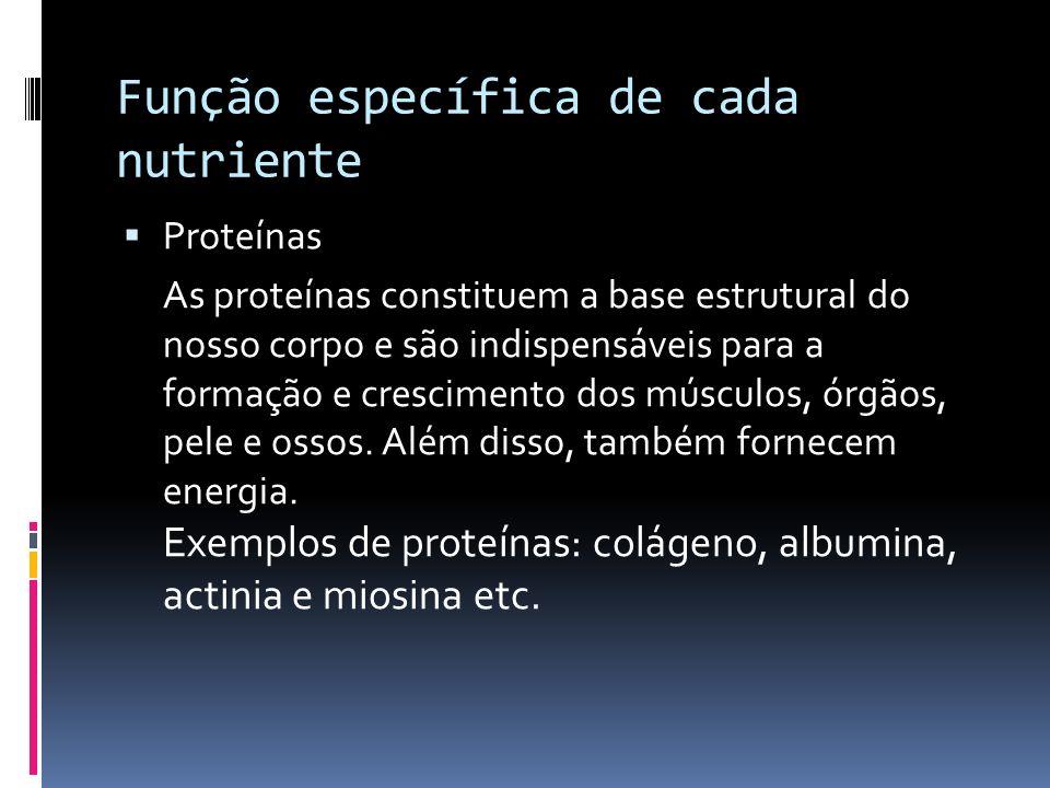 Função específica de cada nutriente Proteínas As proteínas constituem a base estrutural do nosso corpo e são indispensáveis para a formação e crescime
