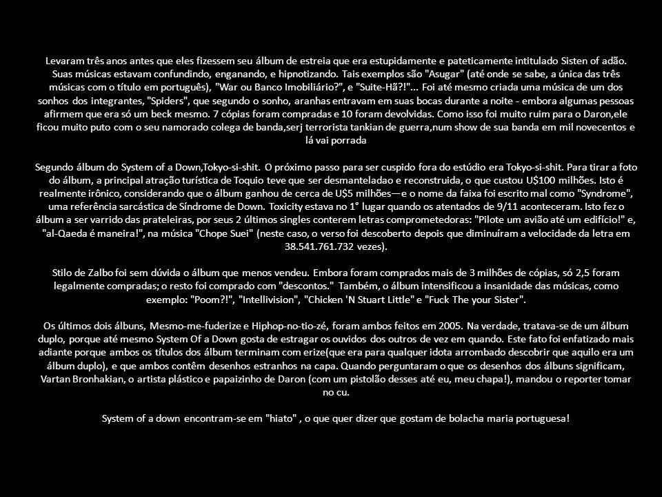 Como todos sabemos, fãs de System of a Down adoram tudo o que é mainstream. Pensando nisso, o líder da banda, depois de comprar um bagulho(maconha), v
