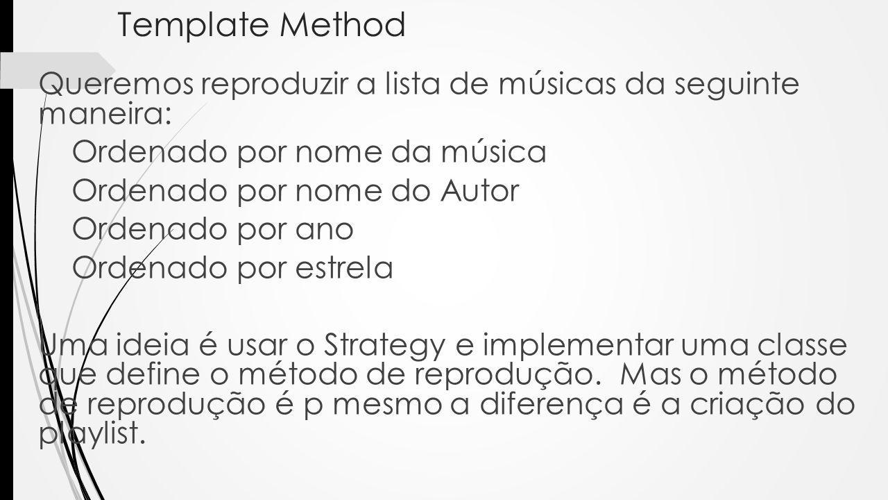 Queremos reproduzir a lista de músicas da seguinte maneira: Ordenado por nome da música Ordenado por nome do Autor Ordenado por ano Ordenado por estre