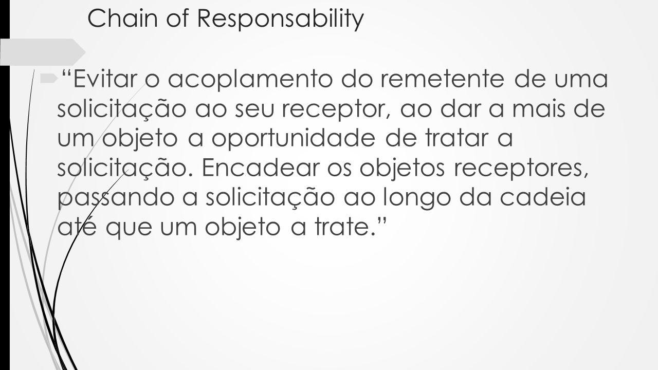 Chain of Responsability Evitar o acoplamento do remetente de uma solicitação ao seu receptor, ao dar a mais de um objeto a oportunidade de tratar a so