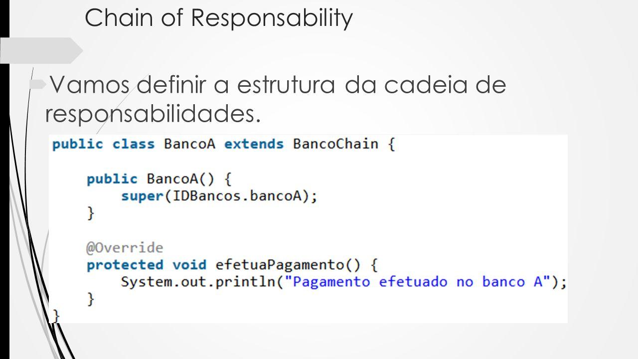 Chain of Responsability Vamos definir a estrutura da cadeia de responsabilidades.