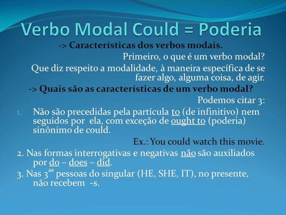 -> Características dos verbos modais. Primeiro, o que é um verbo modal? Que diz respeito a modalidade, à maneira específica de se fazer algo, alguma c