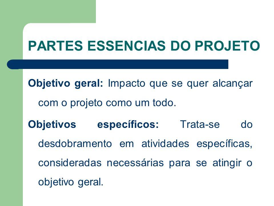PARTES ESSENCIAS DO PROJETO Objetivo geral: Impacto que se quer alcançar com o projeto como um todo.