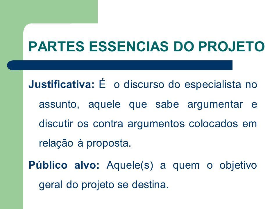 PARTES ESSENCIAS DO PROJETO Justificativa: É o discurso do especialista no assunto, aquele que sabe argumentar e discutir os contra argumentos colocados em relação à proposta.
