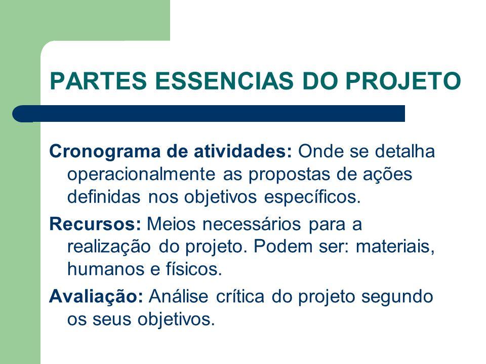PARTES ESSENCIAS DO PROJETO Cronograma de atividades: Onde se detalha operacionalmente as propostas de ações definidas nos objetivos específicos.