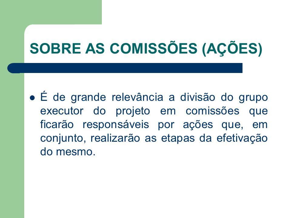 SOBRE AS COMISSÕES (AÇÕES) É de grande relevância a divisão do grupo executor do projeto em comissões que ficarão responsáveis por ações que, em conjunto, realizarão as etapas da efetivação do mesmo.