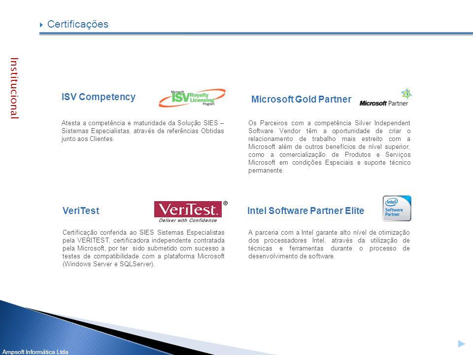 Ampsoft Informática Ltda ISV Competency VeriTest Institucional Atesta a competência e maturidade da Solução SIES – Sistemas Especialistas, através de