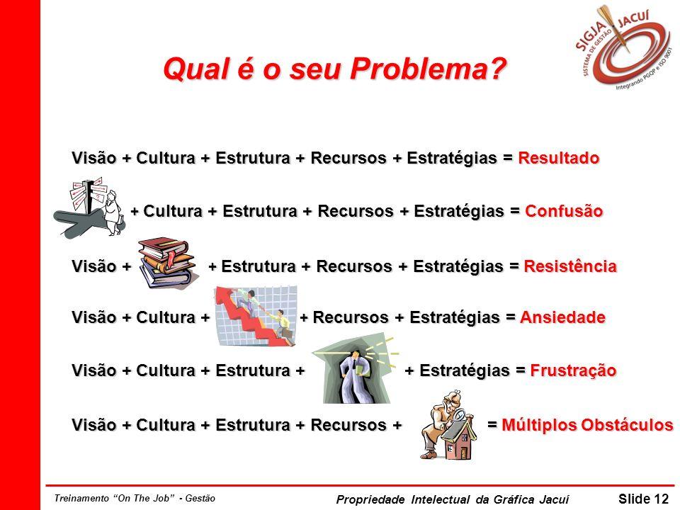 Propriedade Intelectual da Gráfica Jacuí Slide 12 Treinamento On The Job - Gestão Visão + Cultura + Estrutura + Recursos + Estratégias = Resultado Visão + Cultura + Estrutura + Recursos + Estratégias = Resultado + Cultura + Estrutura + Recursos + Estratégias = Confusão + Cultura + Estrutura + Recursos + Estratégias = Confusão Visão + + Estrutura + Recursos + Estratégias = Resistência Visão + + Estrutura + Recursos + Estratégias = Resistência Visão + Cultura + + Recursos + Estratégias = Ansiedade Visão + Cultura + + Recursos + Estratégias = Ansiedade Visão + Cultura + Estrutura + + Estratégias = Frustração Visão + Cultura + Estrutura + + Estratégias = Frustração Visão + Cultura + Estrutura + Recursos + = Múltiplos Obstáculos Visão + Cultura + Estrutura + Recursos + = Múltiplos Obstáculos Qual é o seu Problema?