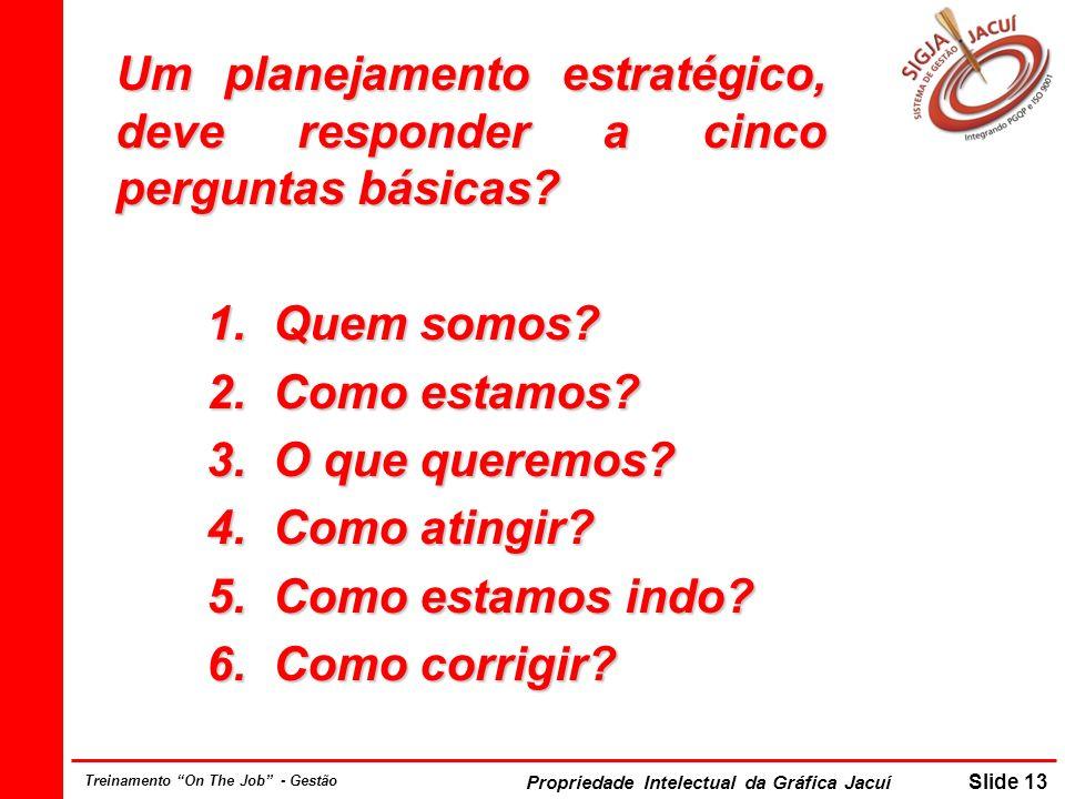 Propriedade Intelectual da Gráfica Jacuí Slide 13 Treinamento On The Job - Gestão Um planejamento estratégico, deve responder a cinco perguntas básicas.