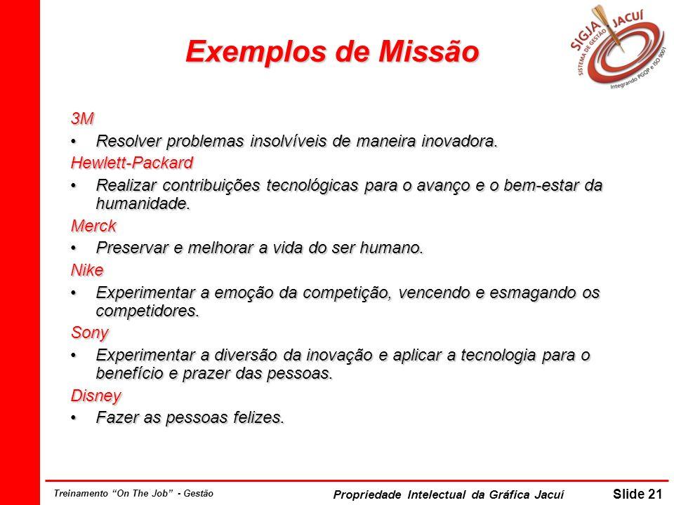Propriedade Intelectual da Gráfica Jacuí Slide 21 Treinamento On The Job - Gestão Exemplos de Missão 3M Resolver problemas insolvíveis de maneira inov