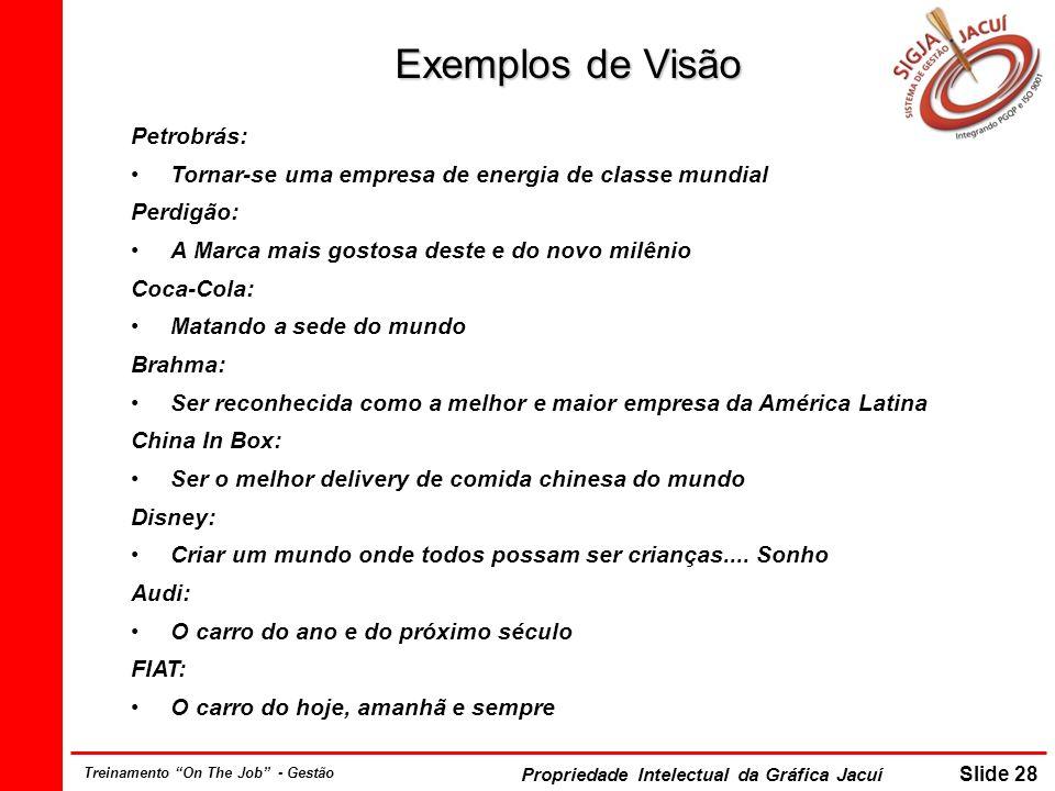 Propriedade Intelectual da Gráfica Jacuí Slide 28 Treinamento On The Job - Gestão Exemplos de Visão Petrobrás: Tornar-se uma empresa de energia de cla