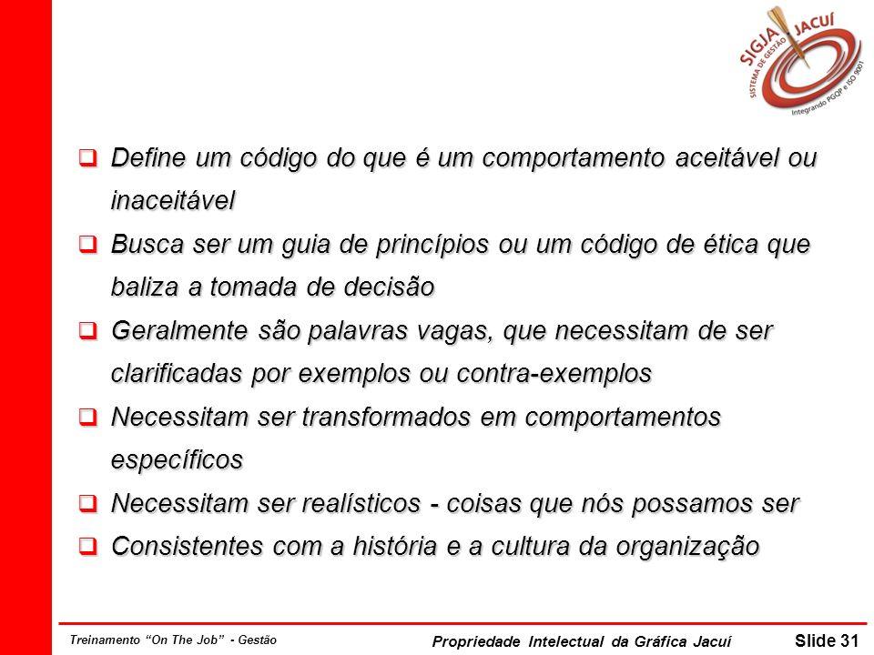 Propriedade Intelectual da Gráfica Jacuí Slide 31 Treinamento On The Job - Gestão Define um código do que é um comportamento aceitável ou inaceitável