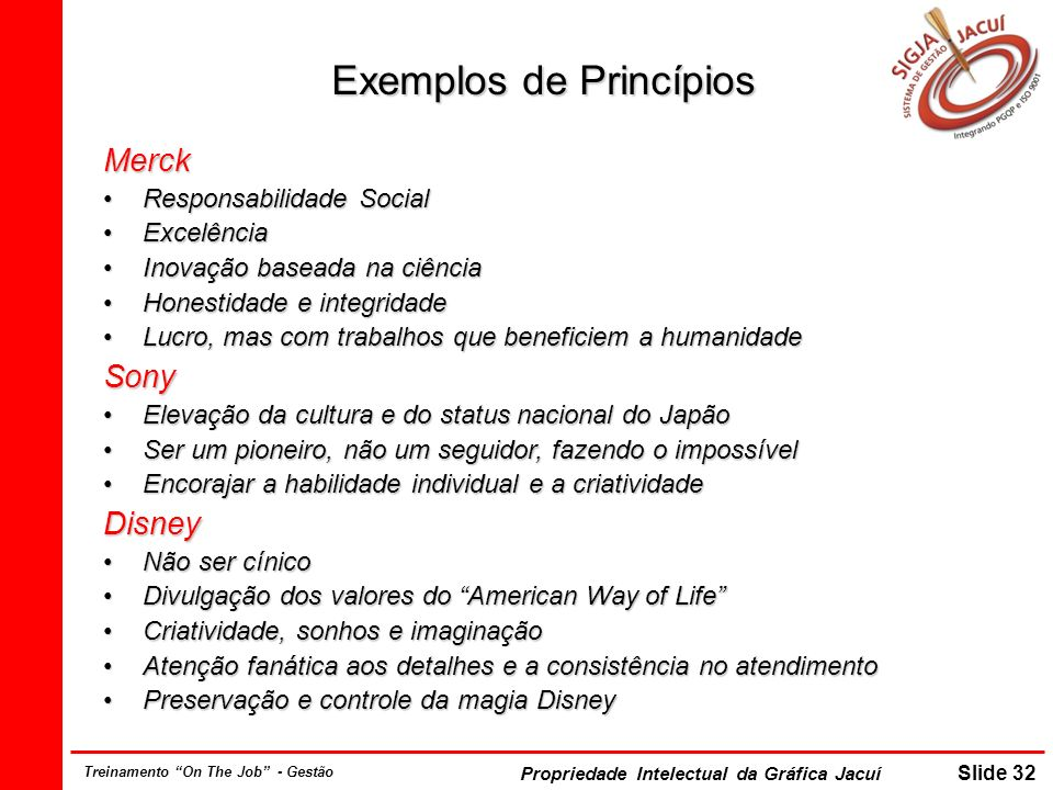 Propriedade Intelectual da Gráfica Jacuí Slide 32 Treinamento On The Job - Gestão Exemplos de Princípios Merck Responsabilidade SocialResponsabilidade