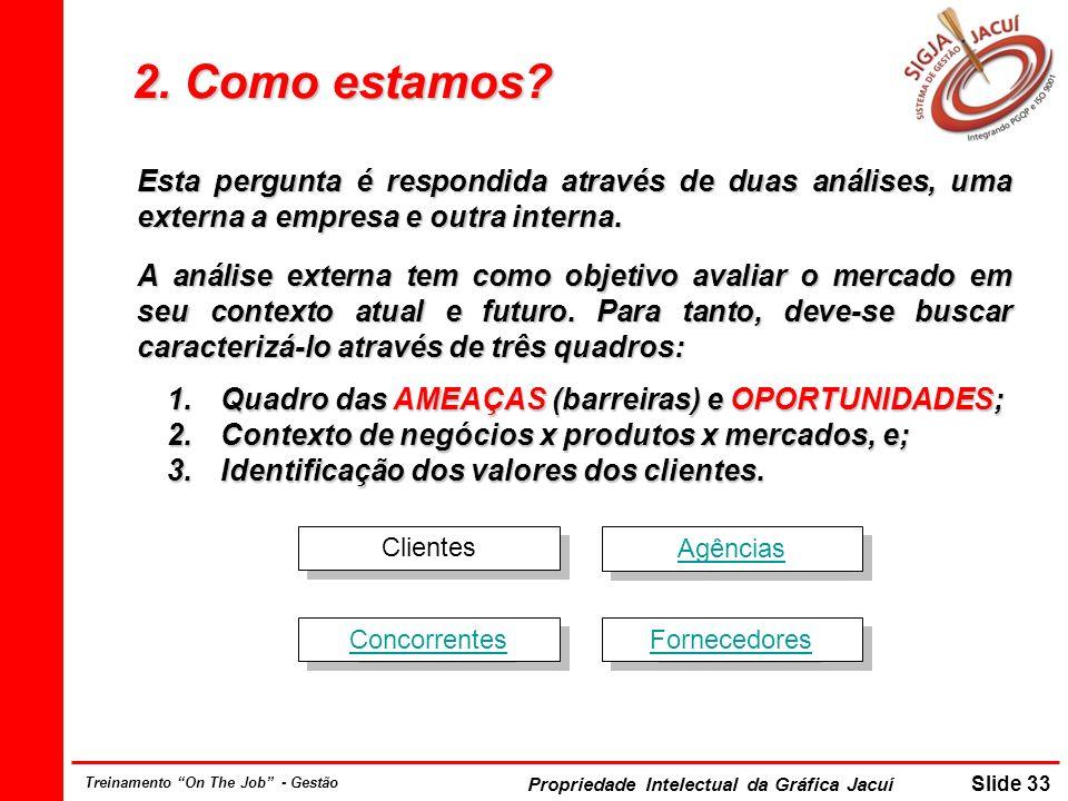 Propriedade Intelectual da Gráfica Jacuí Slide 33 Treinamento On The Job - Gestão 2. Como estamos? Esta pergunta é respondida através de duas análises