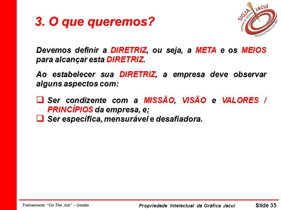Propriedade Intelectual da Gráfica Jacuí Slide 35 Treinamento On The Job - Gestão 3. O que queremos? Devemos definir a DIRETRIZ, ou seja, a META e os