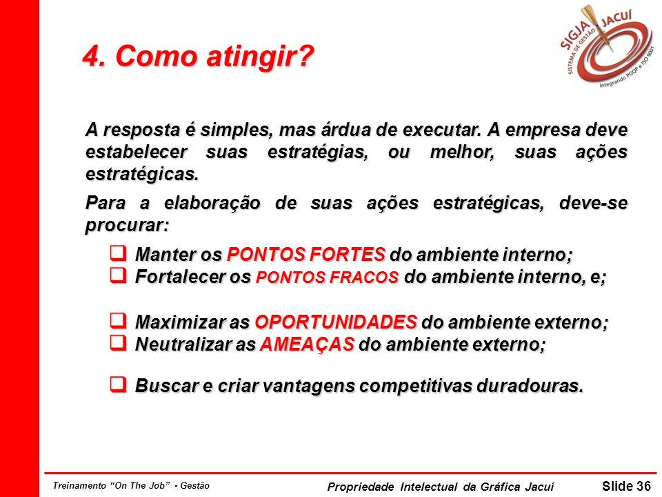 Propriedade Intelectual da Gráfica Jacuí Slide 36 Treinamento On The Job - Gestão 4. Como atingir? A resposta é simples, mas árdua de executar. A empr