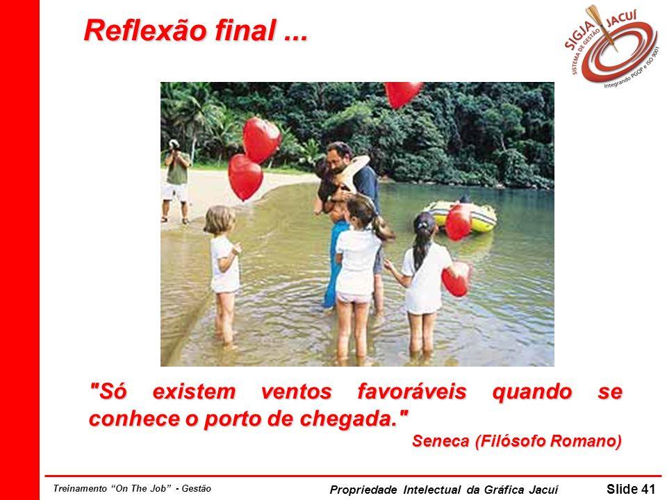 Propriedade Intelectual da Gráfica Jacuí Slide 41 Treinamento On The Job - Gestão Reflexão final...