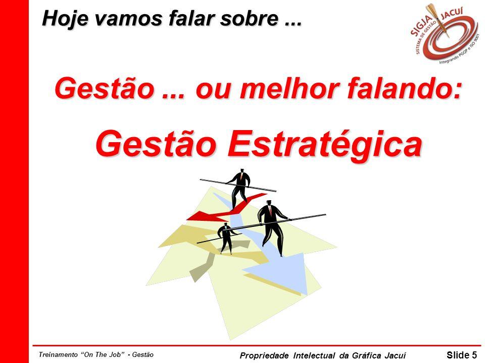 Propriedade Intelectual da Gráfica Jacuí Slide 6 Treinamento On The Job - Gestão Reflexão......