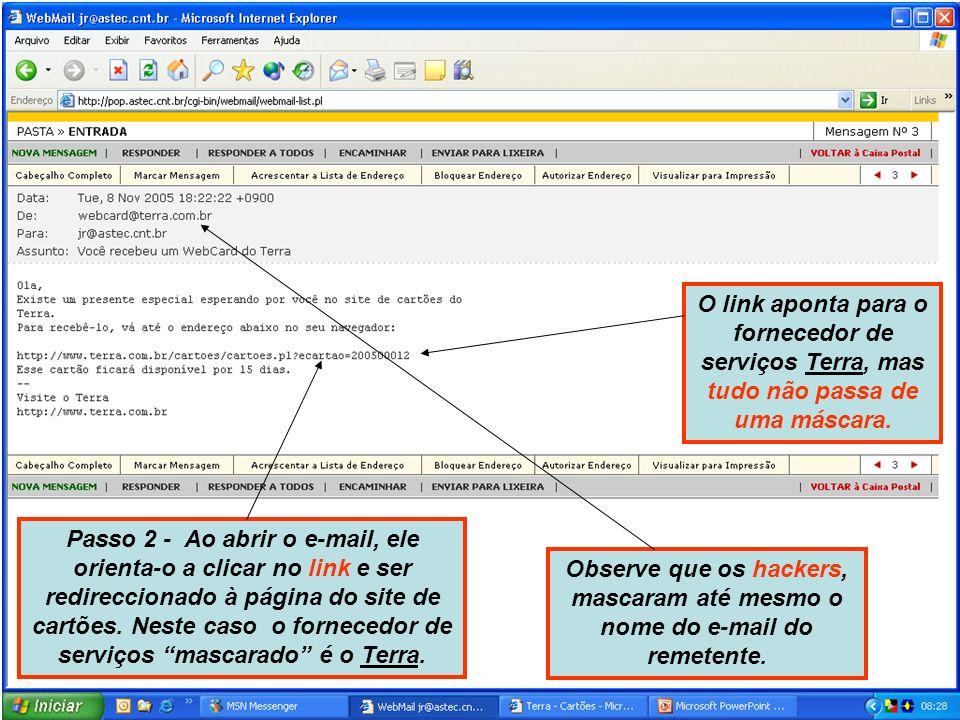Passo 2 - Ao abrir o e-mail, ele orienta-o a clicar no link e ser redireccionado à página do site de cartões.