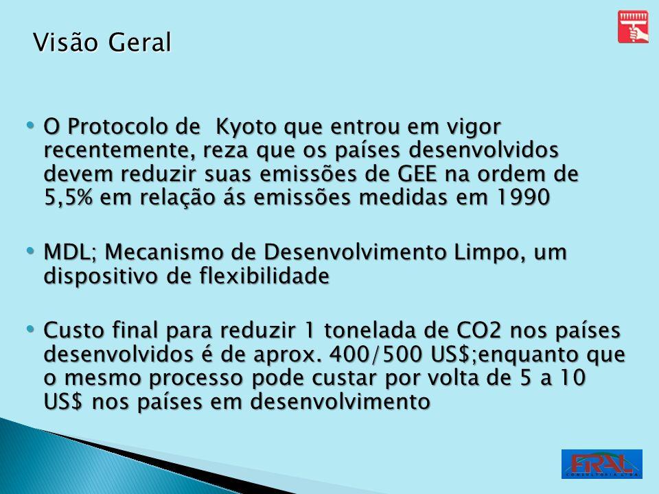 O Protocolo de Kyoto que entrou em vigor recentemente, reza que os países desenvolvidos devem reduzir suas emissões de GEE na ordem de 5,5% em relação
