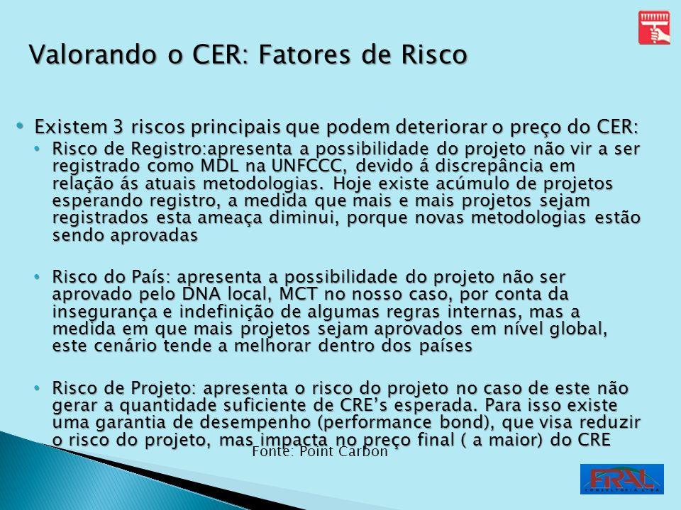 Existem 3 riscos principais que podem deteriorar o preço do CER: Existem 3 riscos principais que podem deteriorar o preço do CER: Risco de Registro:ap