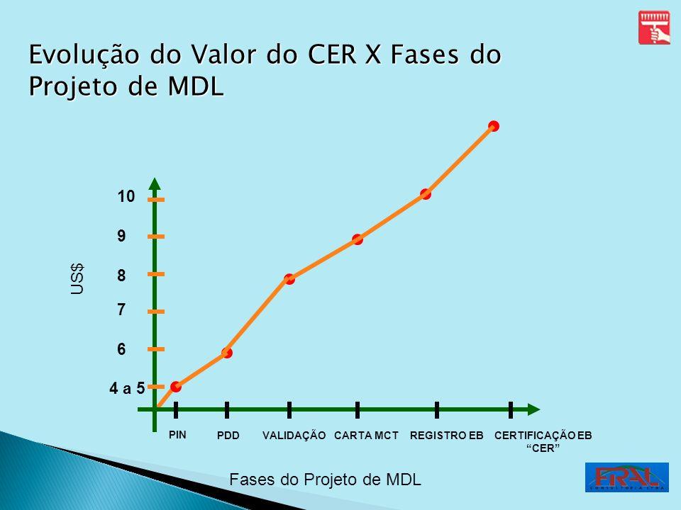 US$ Fases do Projeto de MDL PIN PDDVALIDAÇÃOCARTA MCTREGISTRO EBCERTIFICAÇÃO EB CER 4 a 5 6 7 8 9 10 Evolução do Valor do CER X Fases do Projeto de MD