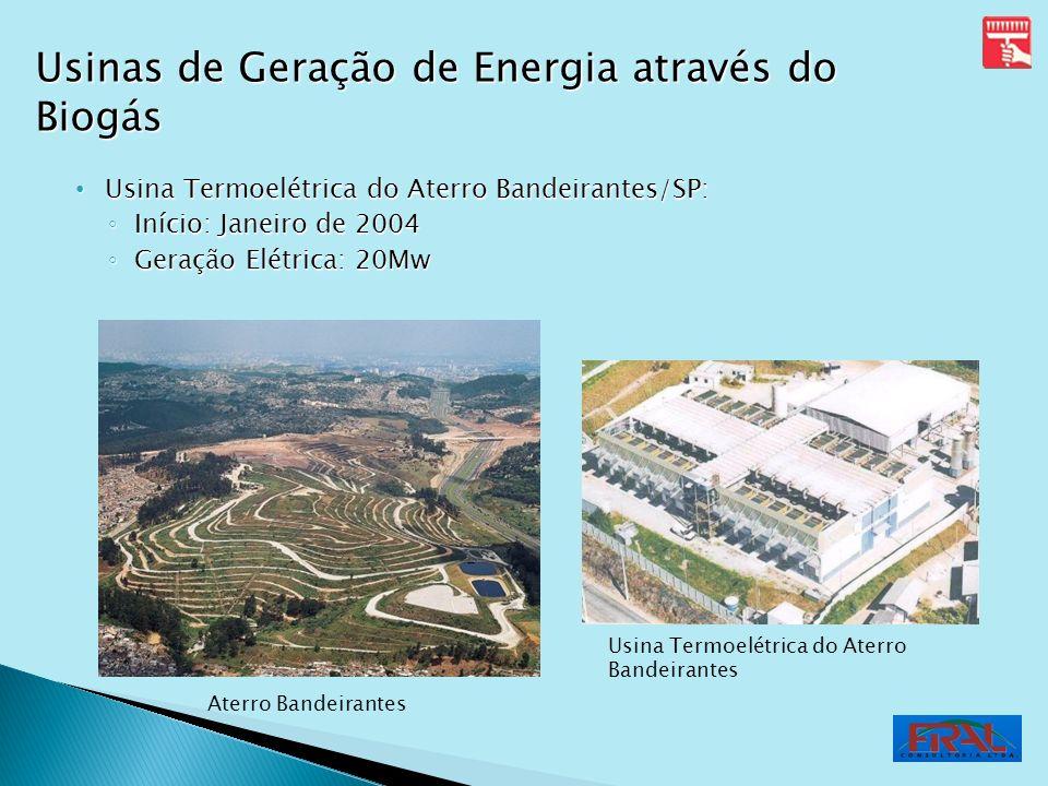 Usina Termoelétrica do Aterro Bandeirantes/SP: Usina Termoelétrica do Aterro Bandeirantes/SP: Início: Janeiro de 2004 Início: Janeiro de 2004 Geração