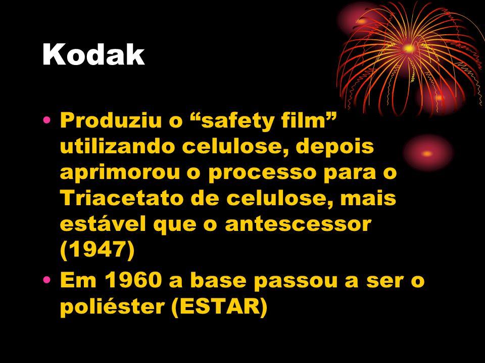 Kodak Produziu o safety film utilizando celulose, depois aprimorou o processo para o Triacetato de celulose, mais estável que o antescessor (1947) Em
