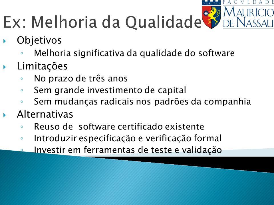 Ex: Melhoria da Qualidade Objetivos Melhoria significativa da qualidade do software Limitações No prazo de três anos Sem grande investimento de capita