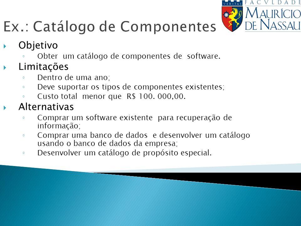 Ex.: Catálogo de Componentes Objetivo Obter um catálogo de componentes de software. Limitações Dentro de uma ano; Deve suportar os tipos de componente