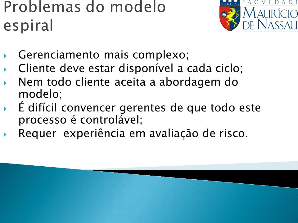 Problemas do modelo espiral Gerenciamento mais complexo; Cliente deve estar disponível a cada ciclo; Nem todo cliente aceita a abordagem do modelo; É difícil convencer gerentes de que todo este processo é controlável; Requer experiência em avaliação de risco.