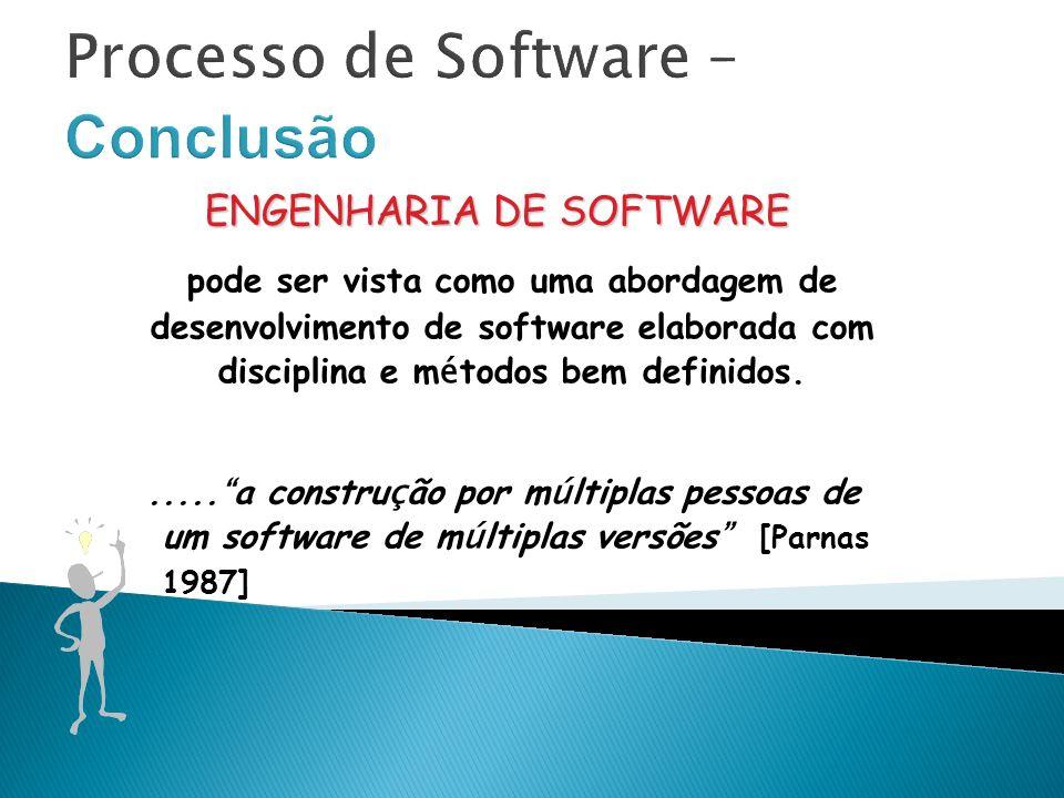 Processo de Software – Conclusão ENGENHARIA DE SOFTWARE pode ser vista como uma abordagem de desenvolvimento de software elaborada com disciplina e m é todos bem definidos......