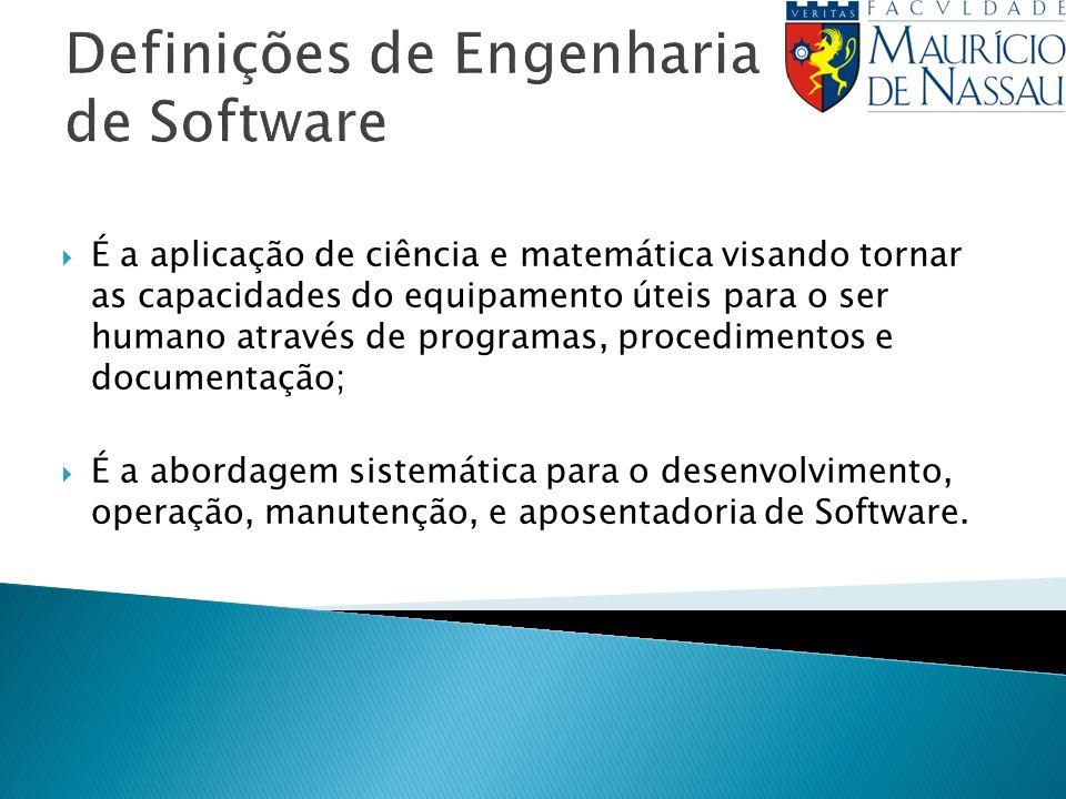 Definições de Engenharia de Software É a aplicação de ciência e matemática visando tornar as capacidades do equipamento úteis para o ser humano através de programas, procedimentos e documentação; É a abordagem sistemática para o desenvolvimento, operação, manutenção, e aposentadoria de Software.