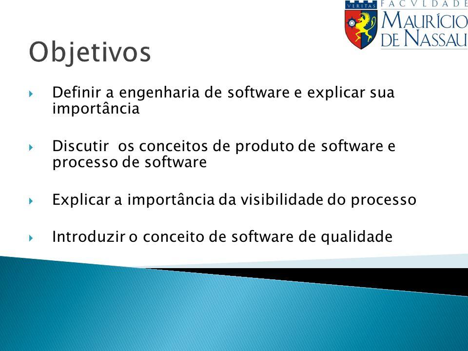 Objetivos Definir a engenharia de software e explicar sua importância Discutir os conceitos de produto de software e processo de software Explicar a importância da visibilidade do processo Introduzir o conceito de software de qualidade