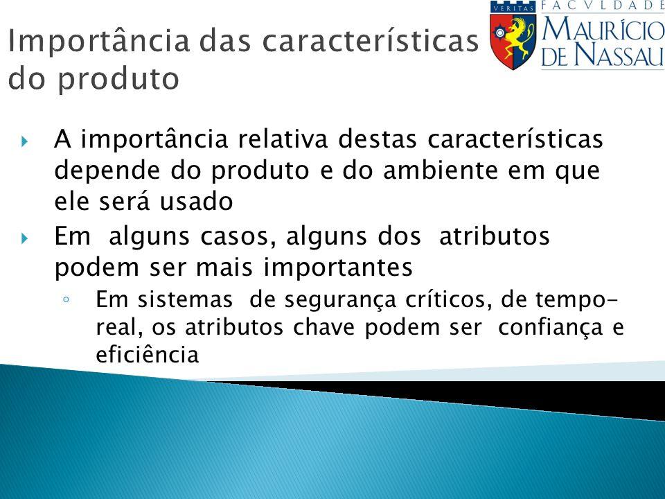 Importância das características do produto A importância relativa destas características depende do produto e do ambiente em que ele será usado Em alg