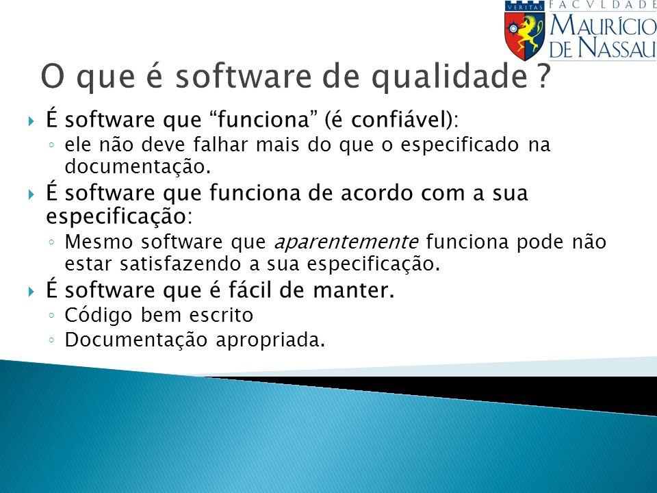 É software que funciona (é confiável): ele não deve falhar mais do que o especificado na documentação.