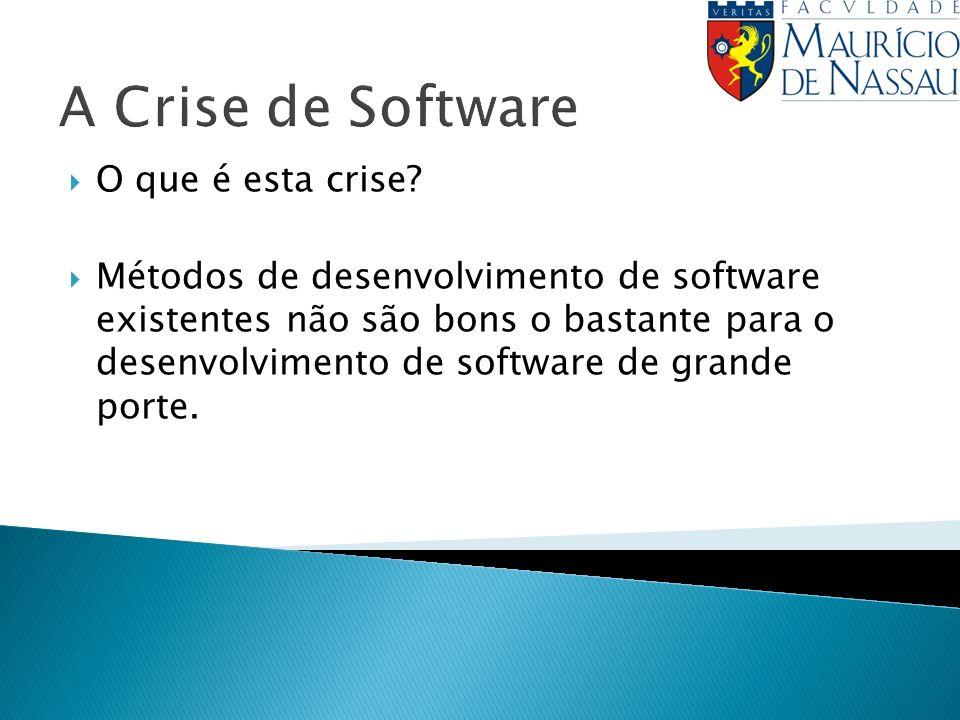 A Crise de Software O que é esta crise? Métodos de desenvolvimento de software existentes não são bons o bastante para o desenvolvimento de software d