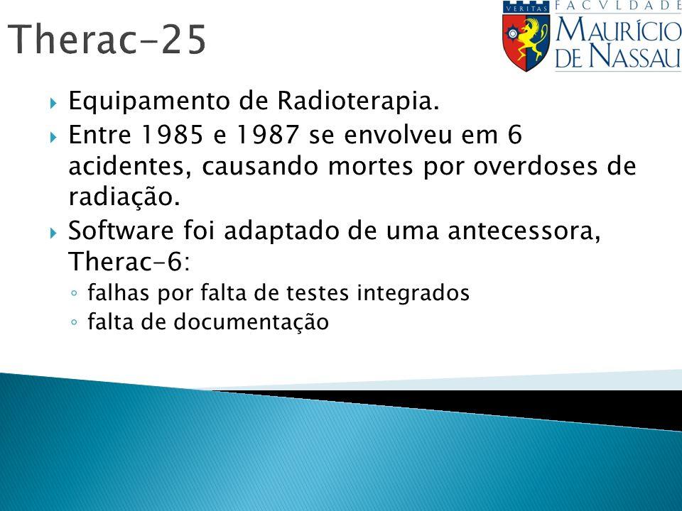 Therac-25 Equipamento de Radioterapia. Entre 1985 e 1987 se envolveu em 6 acidentes, causando mortes por overdoses de radiação. Software foi adaptado