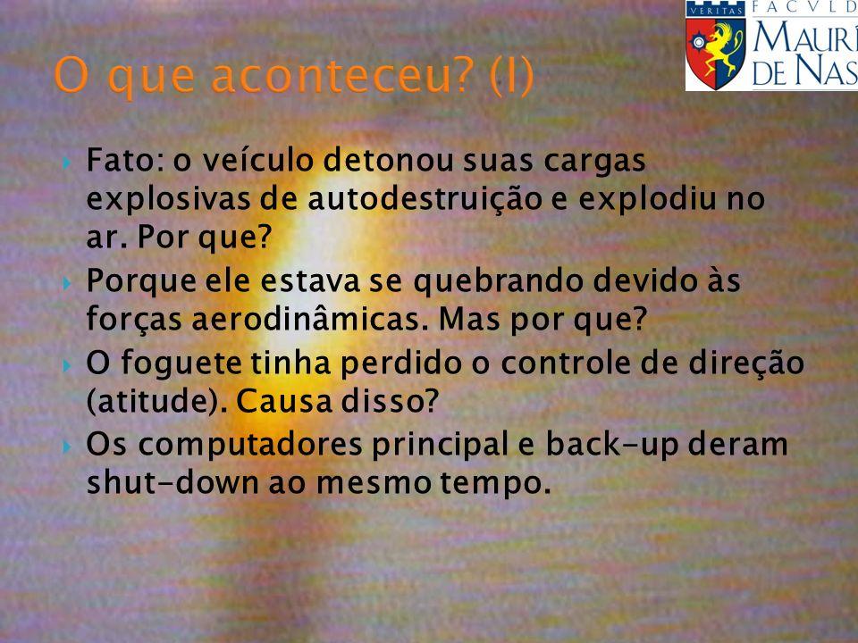 O que aconteceu? (I) Fato: o veículo detonou suas cargas explosivas de autodestruição e explodiu no ar. Por que? Porque ele estava se quebrando devido