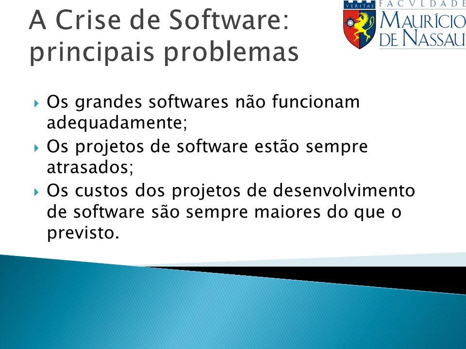 A Crise de Software: principais problemas Os grandes softwares não funcionam adequadamente; Os projetos de software estão sempre atrasados; Os custos dos projetos de desenvolvimento de software são sempre maiores do que o previsto.