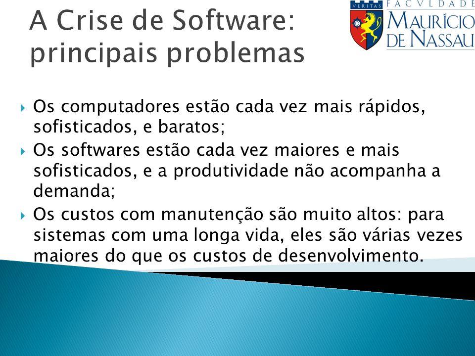 A Crise de Software: principais problemas Os computadores estão cada vez mais rápidos, sofisticados, e baratos; Os softwares estão cada vez maiores e